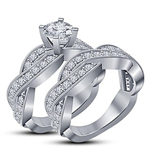 TVS-JEWELS 925 Sterling Silver Round Cut CZ Criss Cross Engagement Wedding Bridal Ring Set (10)