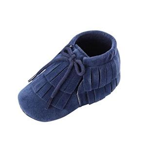 Iuhan Toddler Infant Newborn Baby Girls Boys Tassel Soft Sole Prewalker Shoes (0~6 Month, Dark Blue)