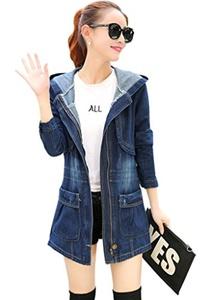 Wincolor Women's Slim Fit Zip Up Hooded Denim Trench Coat Jacket