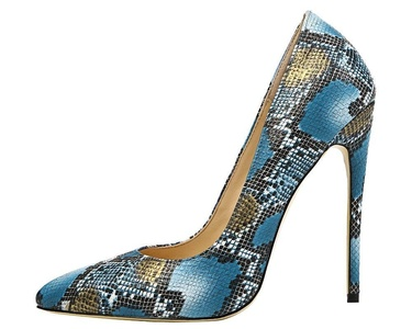 Maovii Women's Sexy Big Size Pointed Toe Colorful Snakeskin High Heels Shoes For Party Dress 12 M US Dark Blue