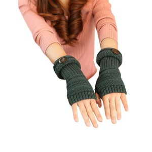 HN Womens Knitted Long Soft gloves Winter Warmer Braided Arm Fingerless Thumb Hole Gloves Mittens (Green)