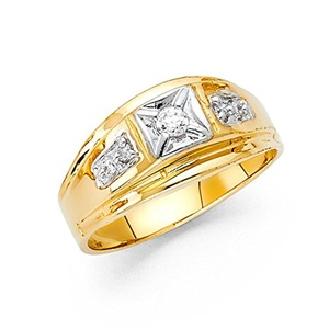 14K Solid Yellow Gold Thick 10mm White Cubic Zirconia Men's Ring, Size 7.5