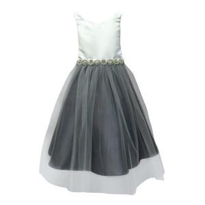 Petite Adele Little Girls Ivory Grey Satin Rhinestone Tulle Christmas Dress 2T-6