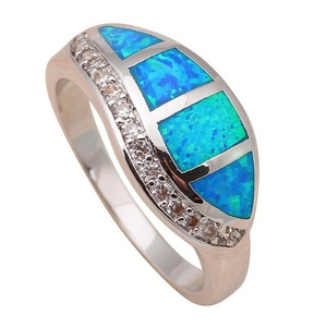 Vintage style Shining White Zircon Fashion Jewelry Blue Fire Opal Silver Stamped Ring USA Size 6 7 8 9 OR685A