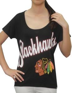 NHL CHICAGO BLACKHAWKS Team Logo Athletic Short Sleeve T-Shirt For Women L Black