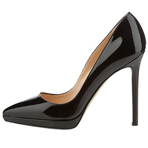 MERUMOTE Women's Stiletto High Heel Patent Leater Plus Size Pointed Toe Pumps Black 10.5 US