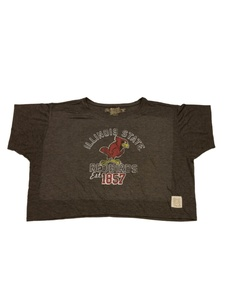 Illionois State Redbirds Retro Brand WOMENS Gray SS Crop Top Style T-Shirt (M)