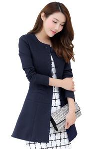 MWW Women's Business Blazers Junior's V-Neck Casual Suits One Button Jackets Dark Blue