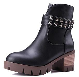 CHFSO Women's Trendy Solid Round Toe Rivet Zipper Mid Chunky Heel Platform Boots Black 10.5 B(M) US