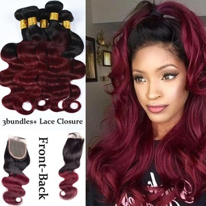 XCCOCO Body Wave 1B Burgandy Lace Closure with Bundles Brazilian Virgin Hair 3 bundles with 4