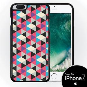 E&M Design Pink Triangle Pattern Black Plastic Case For iPhone 7 Plus