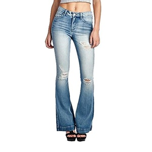 Mid Rise Bell-Bottom Style Flare Jeans Featuring A Distressed Detail And 5 Pocket Design Denim Pant (7)