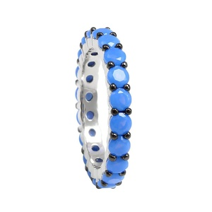 3mm Full Eternity Engagement Band Ring Simulated Turquoise Round Black gold plated 925 Sterling Silver