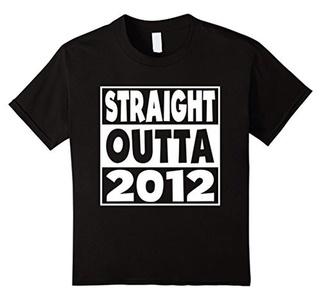 Kids Kids 4th Birthday Gift T-Shirt Straight Outta 2012 For Kids 6 Black