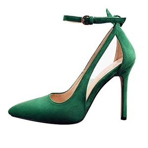 Eldof Women's 100mm Stiletto Heel Pointed Toe Cut Out Pumps Ankle Strap Ladied Party Dress Shoes Green US8