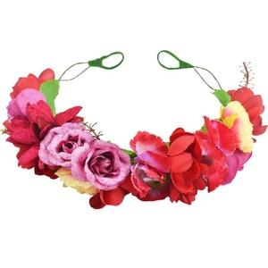 Floral Fall Camellia Flower Crown Wedding Festival Boho bridal headpiece Hair Wreath F-51 (Red)