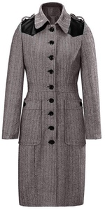 Kearia Womens Classic Stripe Splice Lapel Buttons Down Wool Blend Mid Length Trench Coat Khaki Large