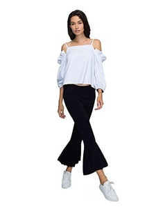 Choies Women White Off Shoulder Ruffle Sleeve Cami Top and Flared Pants Two-piece Suits S