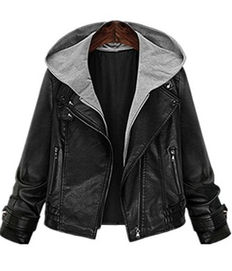 Season Show Women's Faux Leather Hooded Bomber Moto Biker Jacket