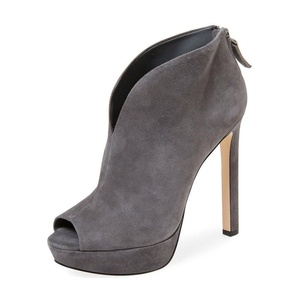 YDN Women Platform High Heels Peep Toe Suede Stilettos Zipper Back Ankle Boots Grey size 12