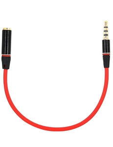 3.5mm Male to Female Audio Extension Cable, iMangoo Auxiliary Stereo Aux Cable (20cm/ 0.65ft) Headphone Earphone Audio Cable for Cell Phone iPhone 7 Plus 6s Galaxy Note 5 S7 Edge Smartphone Black/ Red