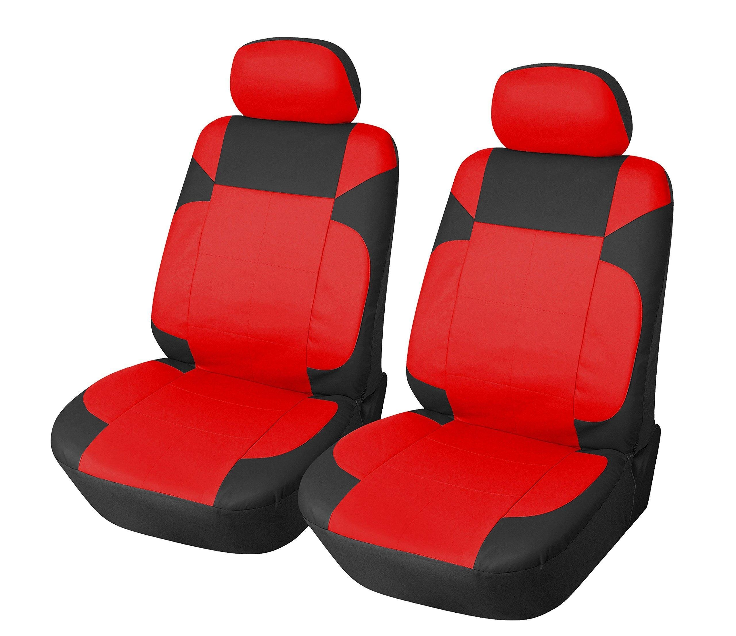 115304 Black Red Leather Like 2 Front Car Seat Covers Compatible To Infiniti Q50