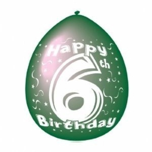 Happy 6th Birthday Printed Latex Balloons 10pk by Party Bags 2 Go