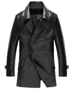 ATHX Men's Double Breasted Trench Overcoat Jacket (XX-Large, Black)