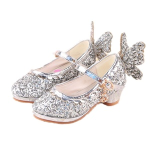 Toddler Little Girls Sequins Butterfly Velcro Strap Princess Shoes (1 M US Little Kid, Silver)
