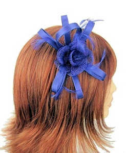 Royal Blue Satin Narrow Bow Hair fascinator with centre Sinamay Flower on a sprung clip by For Him For Her