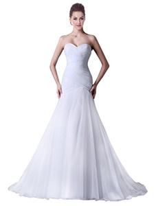 JoyVany Sweetheart Mermaid Wedding Dresses 2016 Long Pleated Bridal Gowns Ivory Size 14
