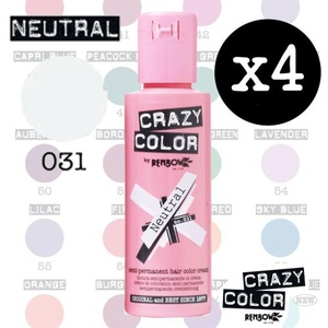 Crazy Colour Semi Permanent Hair Dye By Renbow Neutral No.31 (100ml) Box of 4 by Crazy Color