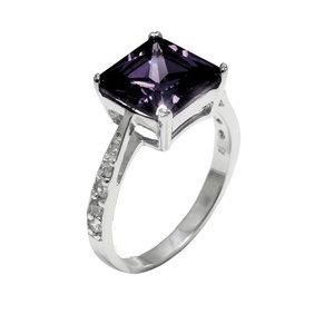 Solitaire Accent Wedding Engagement Ring Princess Cut Simulated Amethyst Round CZ 925 Sterling Silver