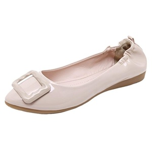 Women Ballet Flats HooH Pointed Toe Slip On Buckle Ballet Shoes Beige 7 B(M) US
