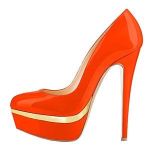 Maovii Women's Big Size Multi color Closed Toe Stiletto Heels Platform Pumps Ladies Court Shoes 5 M US Orange+Gold