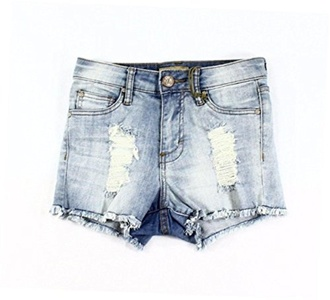 STS Light Blue Womens Fringed Distressed Denim Shorts