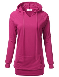 FLORIA Womens Raglan Long Sleeve French Terry Sweatshirt Hoodie Top w/ Pocket MAGENTA 3XL