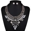 ARICO Perlas Necklace Set Earrings Crystal Pearl Jewelry Set Retro Vintage Jewelry Sets Parure Bijoux Femme NE347