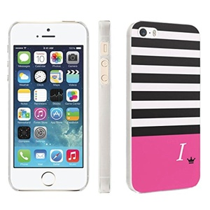 iPhone [SE/5/5S] Phone Case [Skinguardz] [Clear] Fancy Protection [Clear Form Fit] - [Black Pink Stripe I Monogram] for iPhone [SE/5/5S]