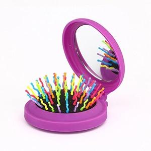 Candy Brush Mini Folding Detanging Hair Brush with Mirror Travel Compact Packet Hairbrush,(Purple))