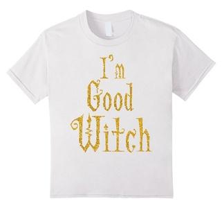 Kids Halloween Shirts Gold I'm Good Witch 12 White
