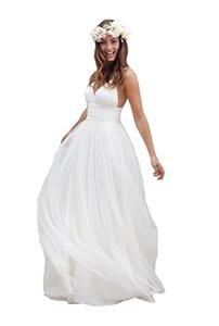 LD DRESS Women's Ruched Empire Waist Beach Wedding Dress US22 White