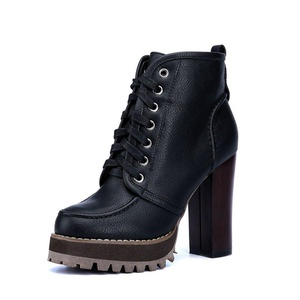 YGGER Women Fashion Round Toe Platform Lace Up Belt Ankle High Chunky Heel Bootie Shoes Black 4.5 D(M) US