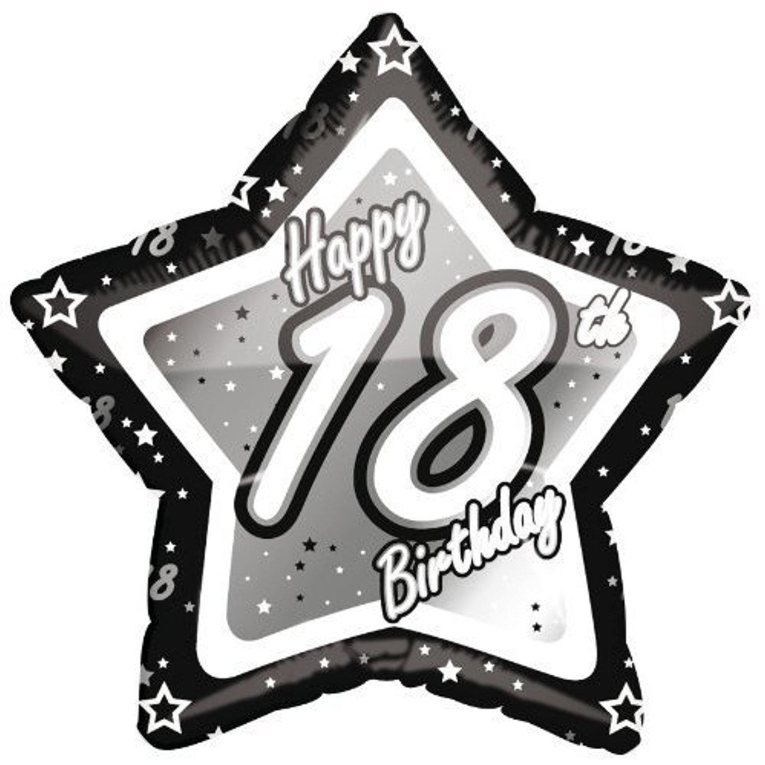 Age 18/Happy 18th Birthday Silver & Black 21 Foil Balloon by Black/Silver/White Balloons & Decorations
