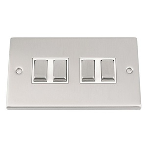 Light Switch 4 Gang - Satin Matt Chrome Square - White Insert - Metal Rocker Switch - 10 Amp 4 Gang 2 Way by A5 Products