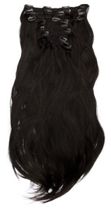 Love Hair Extensions Thermofibre Silky Straight 10-Piece Full Head Set 18-inch Jet Black by Love Hair Extensions