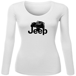 Jeep Logo for Women Printed Long Sleeve Cotton T-shirt