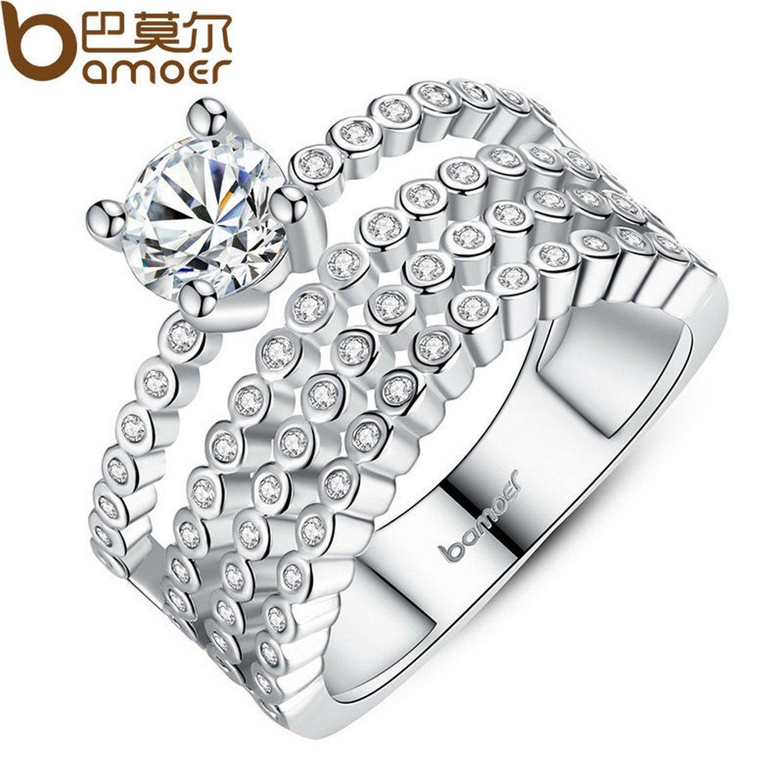 Slyq Jewelry Luxury Platinum Plated Zircon Bezel Setting 4 Rows Crystals CZ Finger Ring Wedding YIR066