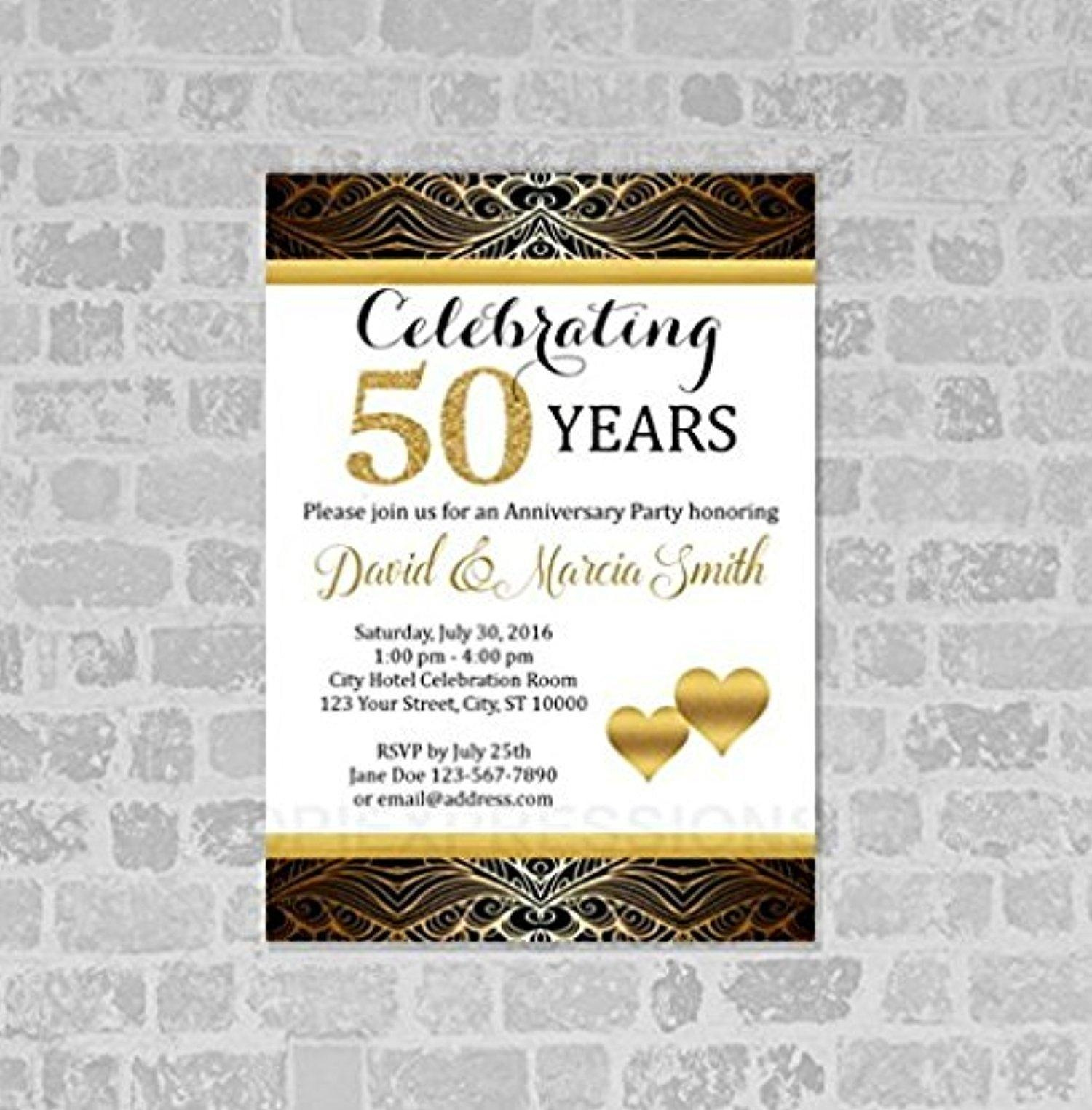 Online Store 50th Wedding Anniversary Invitation Gold Digital