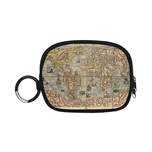 HomeWishes Map Polyester Fabric Cute Custom Coin Purse Money Clutch Bags